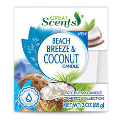Great Scents Soy Candle - Coconut & Beach Breeze 3 Oz.