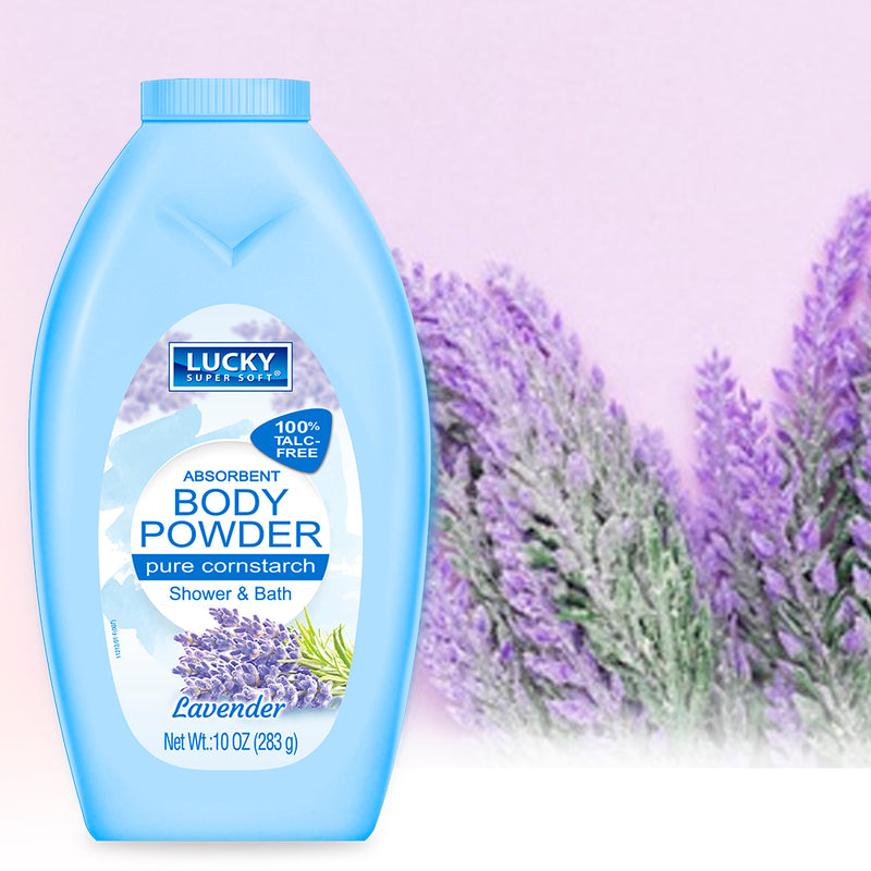 Lucky Super Soft Body Powder - Cornstarch - Lavender 10 Oz.