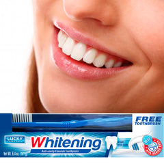 Lucky Super Soft Toothpaste W/Toothbrush - Whitening - 2/12/6.4 Oz.