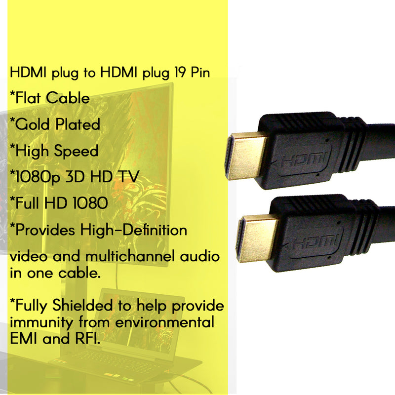 Axxis Hdmi Flat Cable - Gold Plate - 6 feet - 2 meters