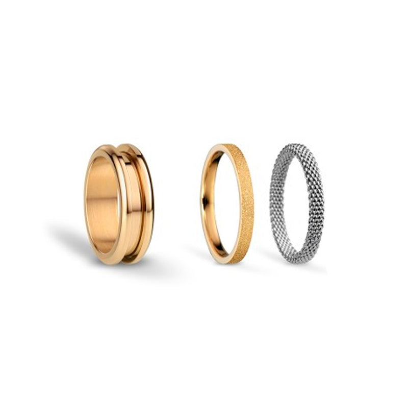 Bering Arctic Symphony Combi-Ring Starter Set. Gold Stainless Steel Main with 2 Inner Rings. (Sparkling Gold Steel and Silver Steel Mesh). Symphony-Set2
