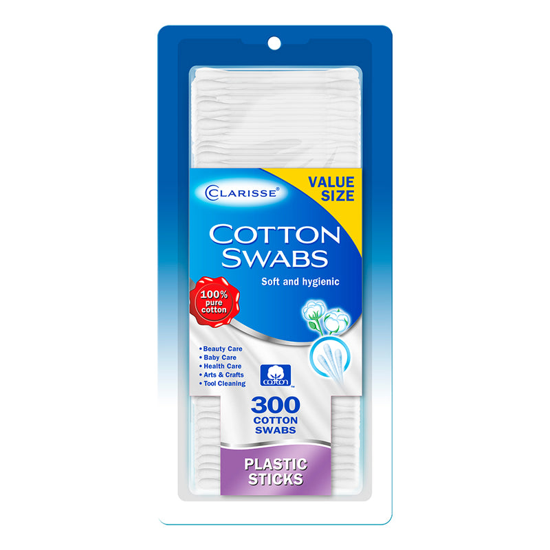 Clarisse Cotton Swabs - Plastic Stick 300 Ct.