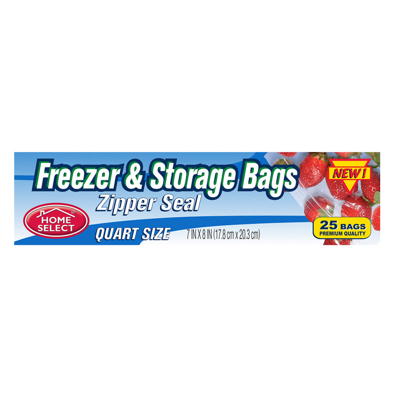 Home Select Freezer & Storage Bags - Zipper Seal - Quart Size 25 ct.