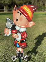 boy elf with bell painted yard art design