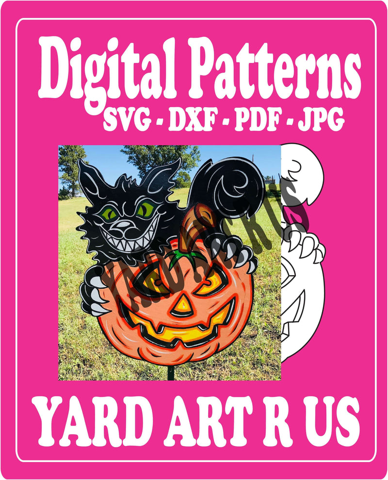 Template/Digital Cut File for Pumpkin with Scary Cat - SVG - JPG - PDF - DXF