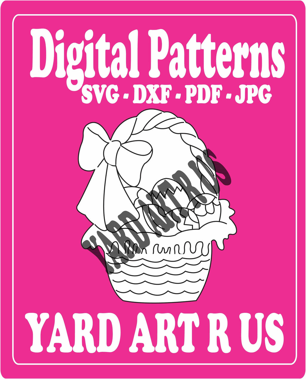 easter basket with decorated eggs in it and a bow digital pattern - SVG, DXF, PDF, and JPG file options