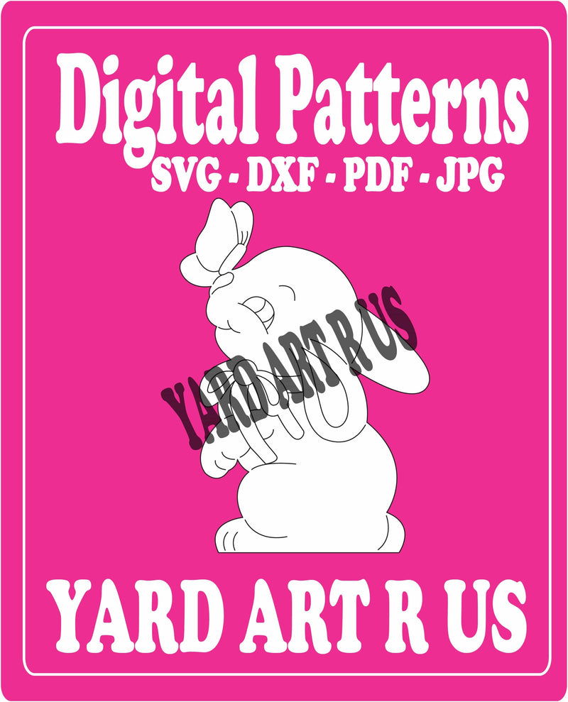 sitting bunny with a butterfly on its nose digital pattern - SVG, DXF, PDF, and JPG file options