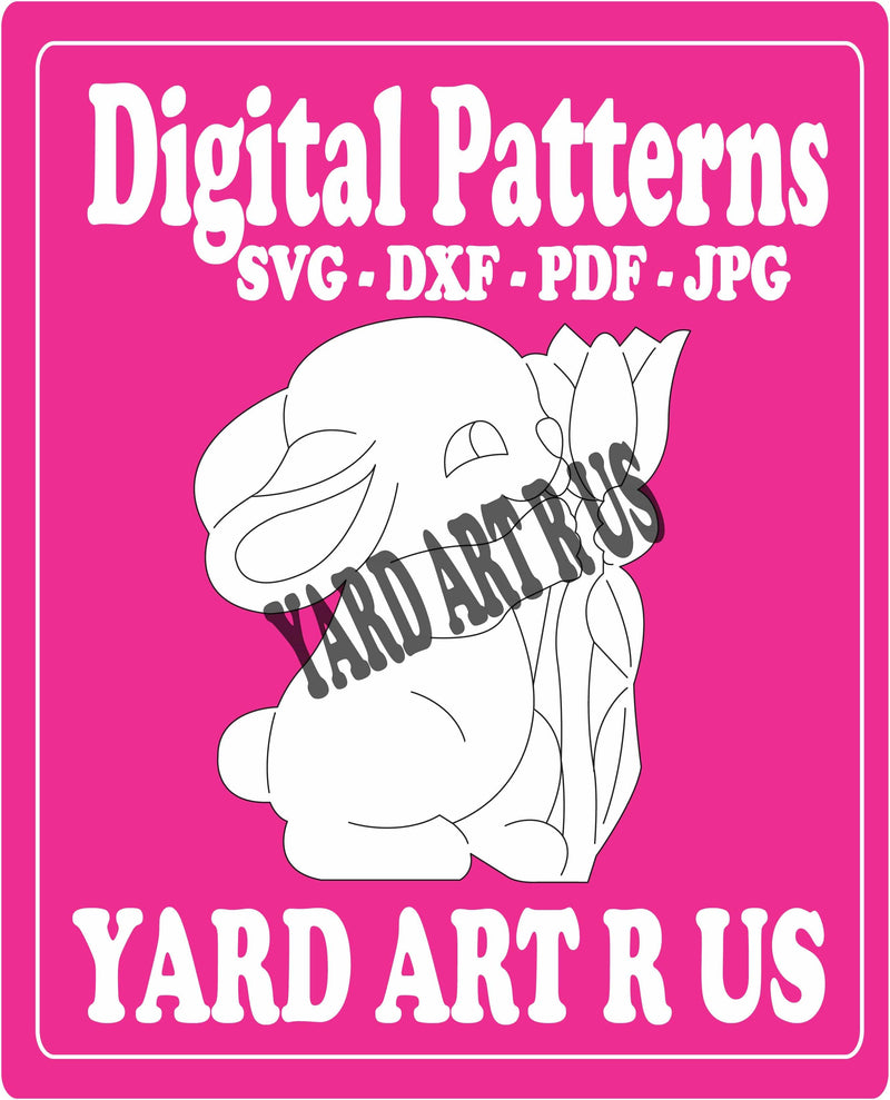 bunny holding flowers digital pattern - SVG, DXF, PDF, and JPG file options