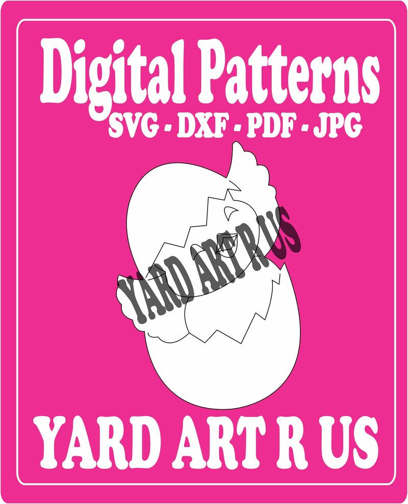 chick coming out of shell digital pattern - SVG, DXF, PDF, and JPG file options