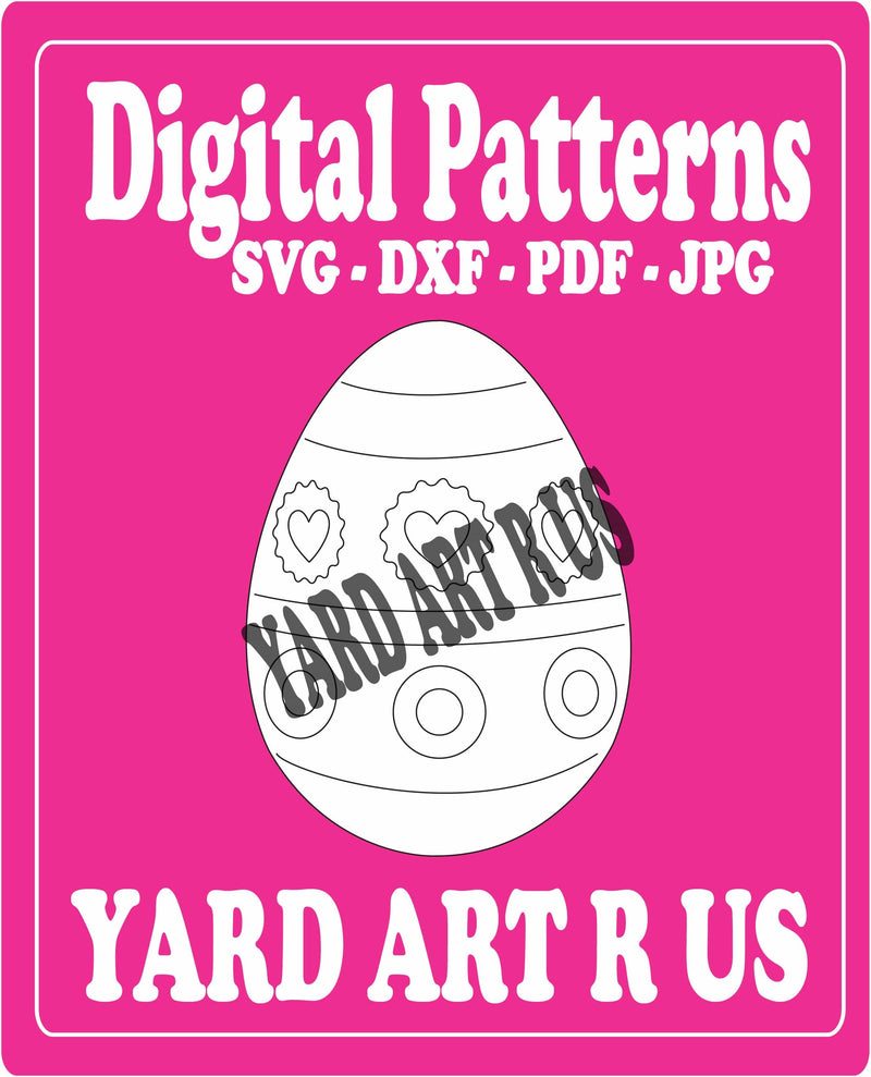 easter egg with hearts and circles digital pattern - SVG, DXF, PDF, and JPG file options