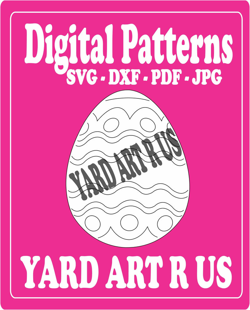 easter egg digital pattern - SVG, DXF, PDF, and JPG file options
