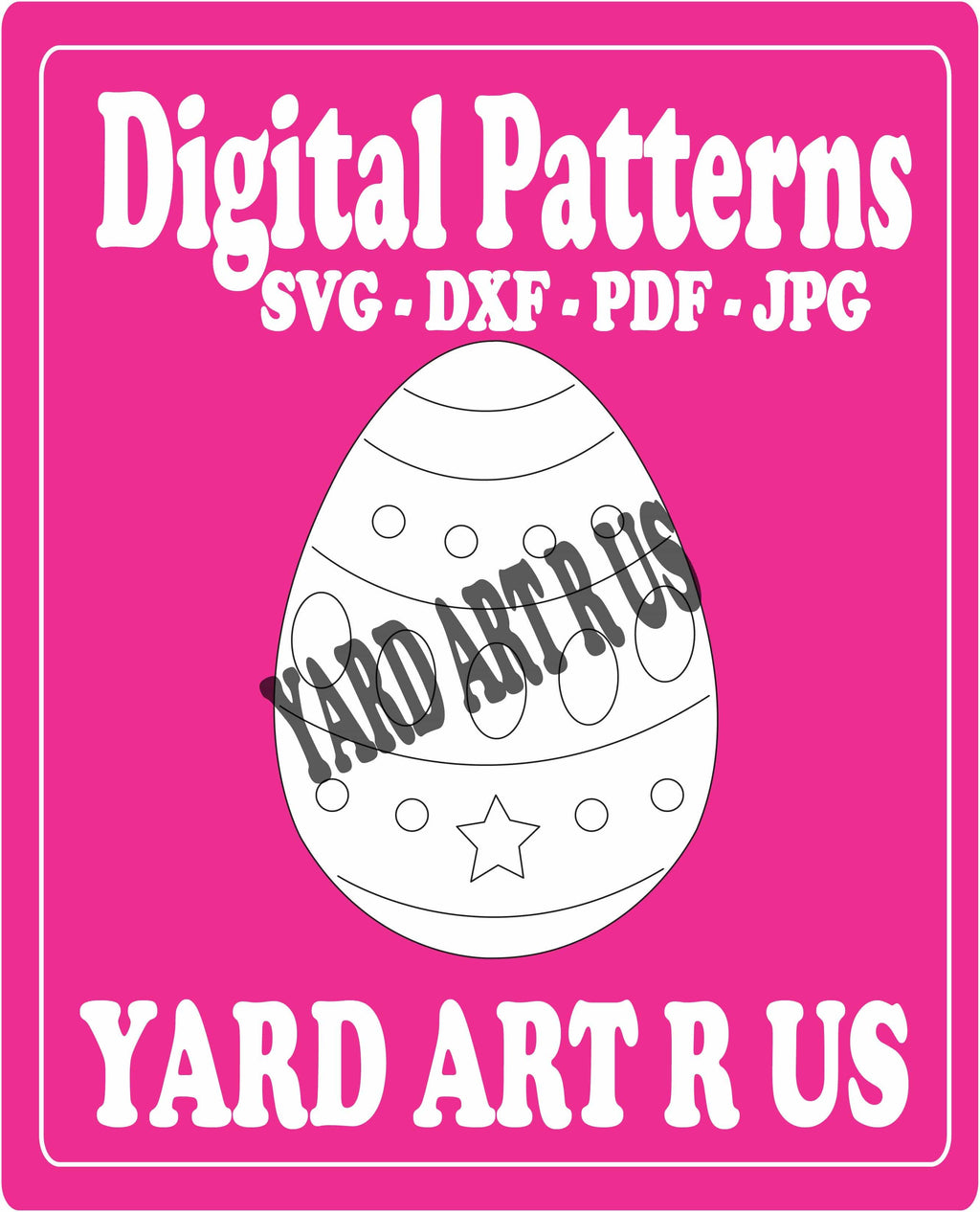 esdter egg with circles, ovals, and a star digital pattern - SVG, DXF, PDF, and JPG file options