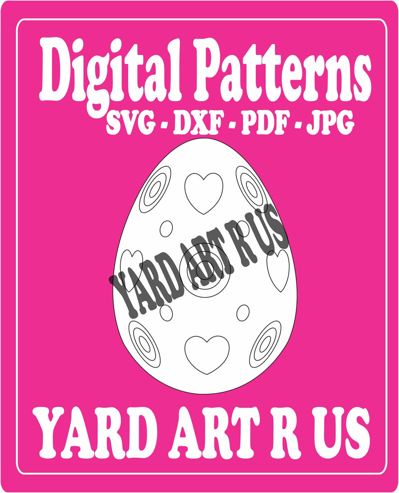 easter egg with hearts and targets digital pattern - SVG, DXF, PDF, and JPG file options