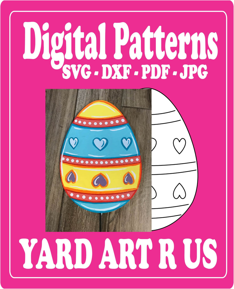 Easter Egg with hearts and stripes Pattern Digital Template - SVG - DXF - PDF - JPG Files