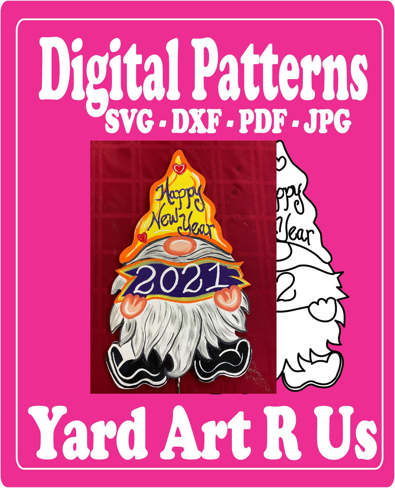 Digital download for New Year's Gnome with a banner