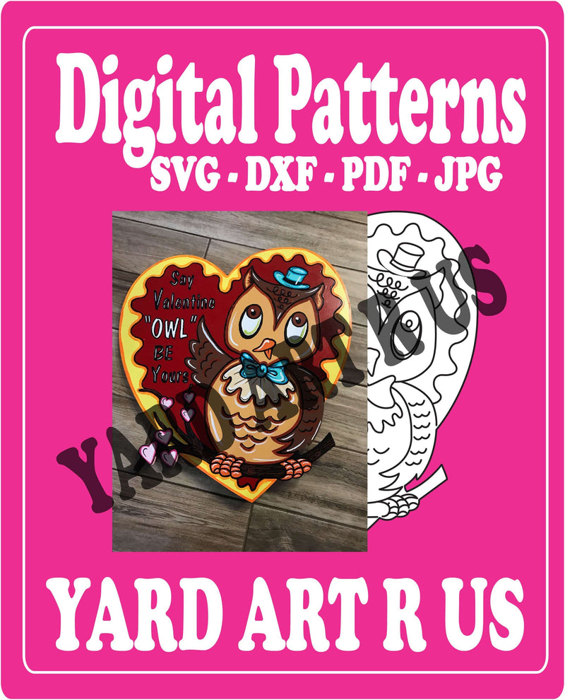 Yar Art R Us digital Valentine's Day Owl patterns; SVG, DXF, PDF, and JPG file options