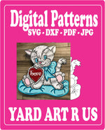 Cat Valentines Digital Template - SVG - DXF - PDF - JPG Files