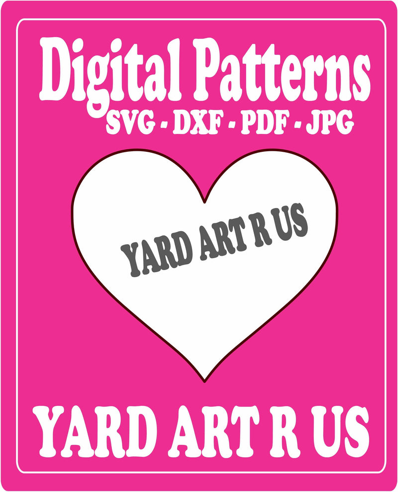 Blank heart digital pattern; SVG, DXF, PDF, and JPG file options