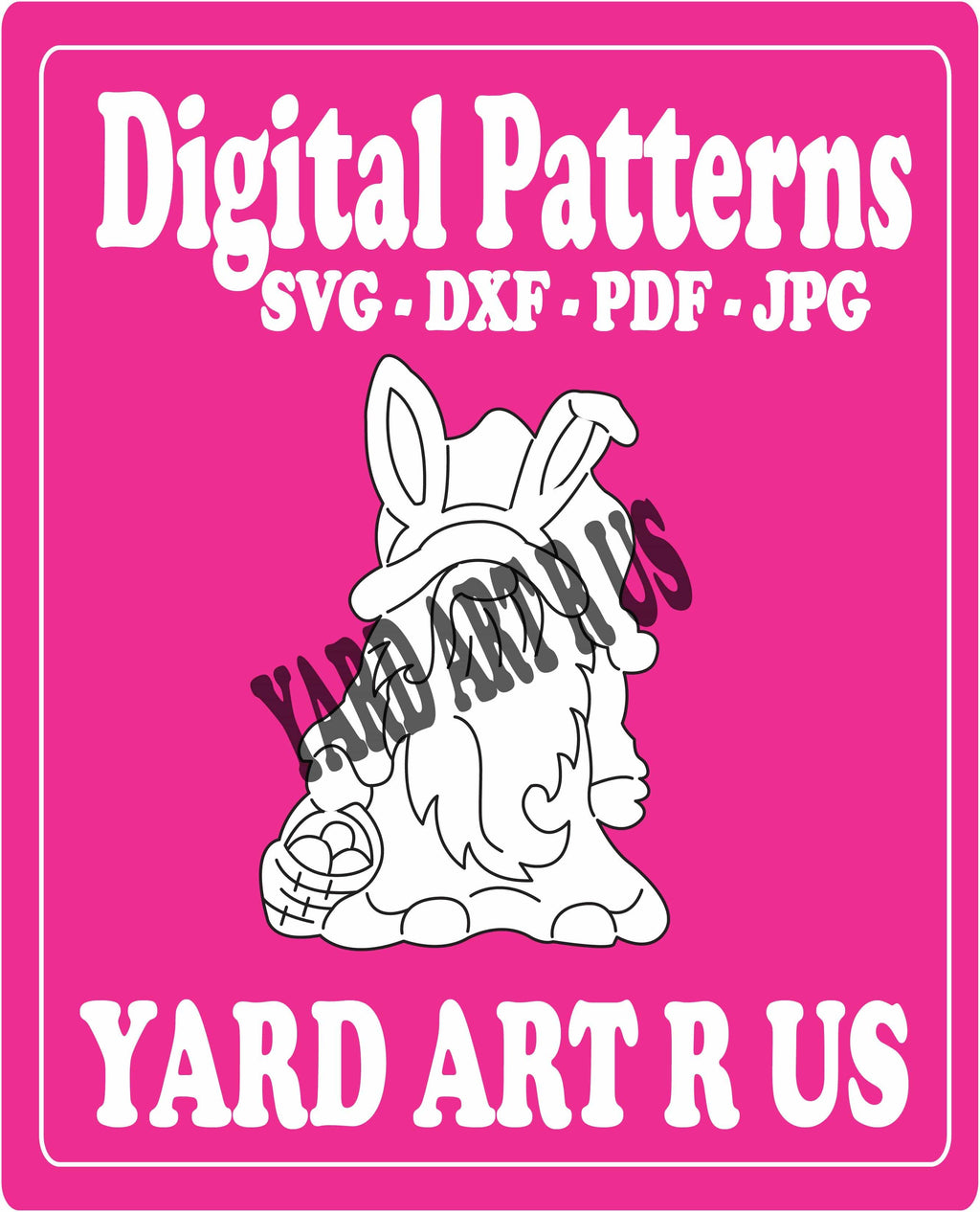 gnome bunny holdong basket digital pattern - SVG, DXF, PDF, and JPG file options