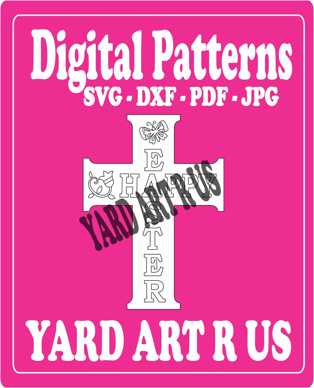 Happy easter cross digital pattern - SVG, DXF, PDF, and JPG file options