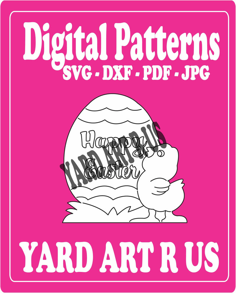 Happy Easter egg and bird digital pattern - SVG, DXF, PDF, and JPG file options