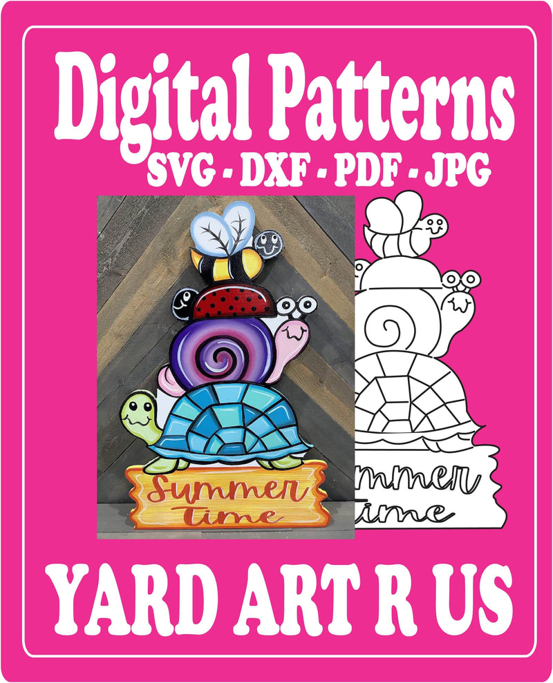 Summer Yard Art Totem Pole Digital Template - SVG - DXF - PDF - JPG Files