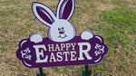 Purple Happy Easter Sign with Bunny Face