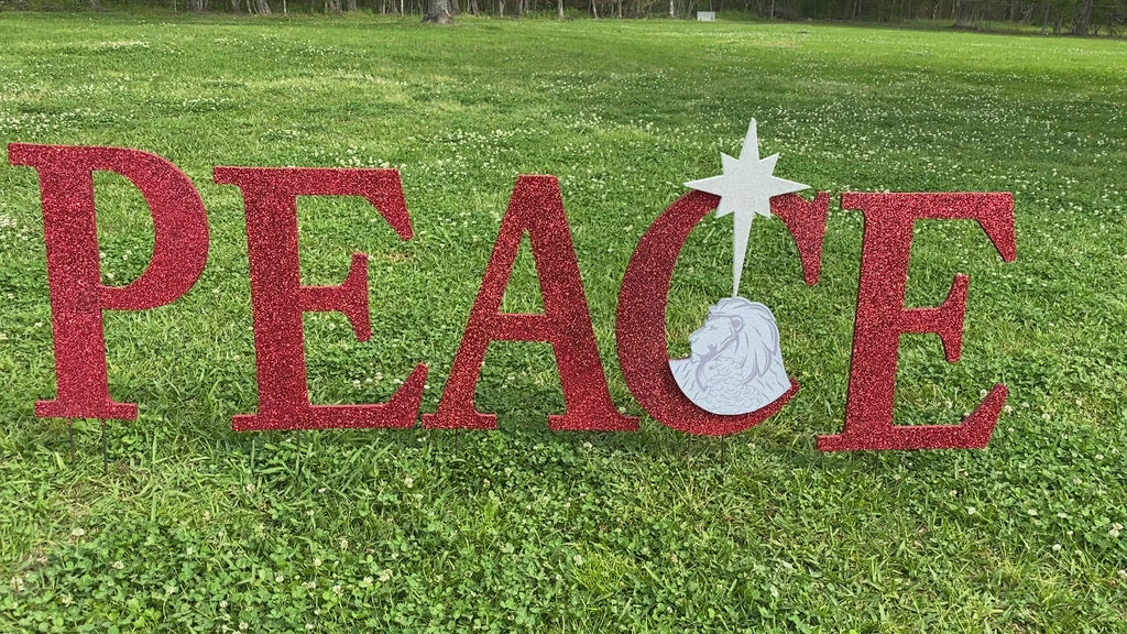 Christmas yard Art PEACE letters