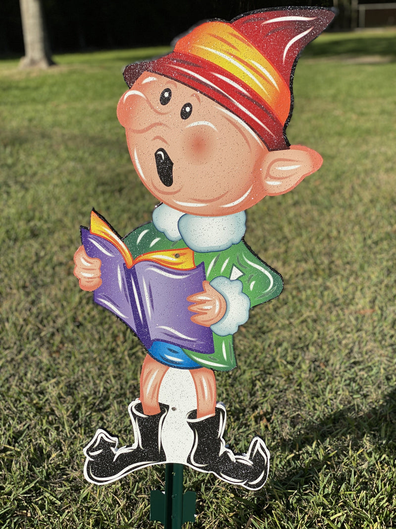 boy elf with book painted yard art design