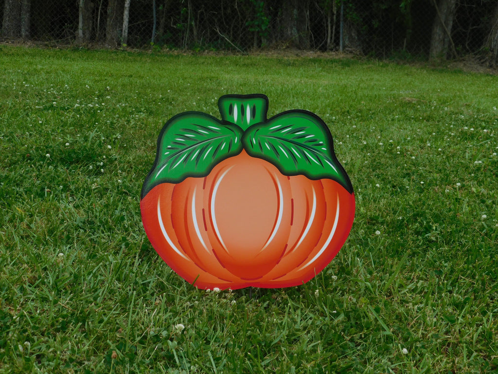 medium pumpkin with leaves on each side painted yard art design