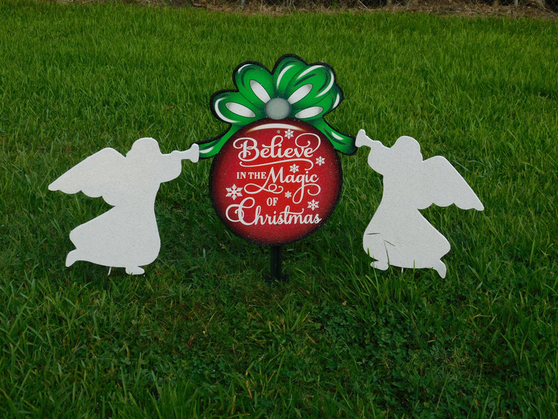 Believe in the Magic of Christmas Ornament with two angels