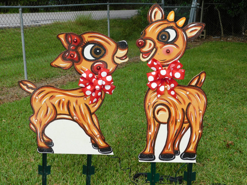 rudolph and clarice light up reindeer painted yard art design