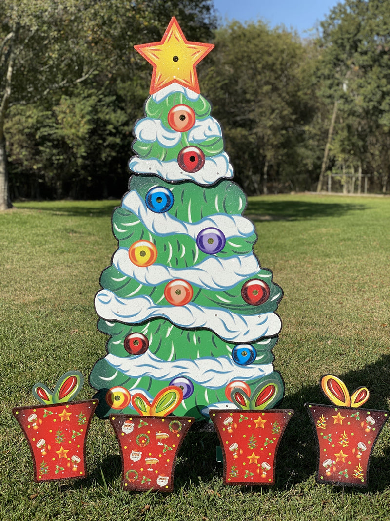 Christmas Yard Art | See Video | Lighted Christmas Tree with 4 Christmas Presents