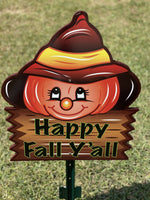happy fall sigh under cute pumpkin with hat painted yard art design