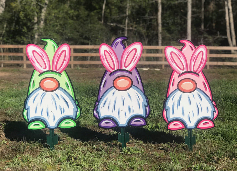 Easter Yard Art- Easter Gnomes with Bunny Ears Set of 3