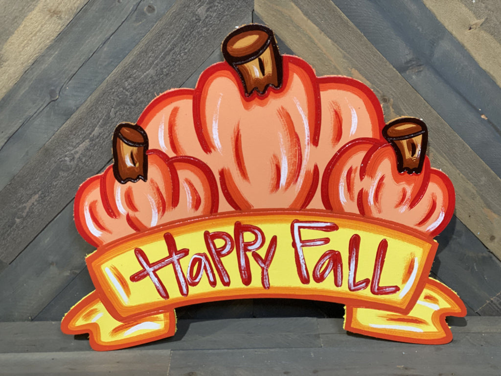 happy fall pumkin banner painted yard art design