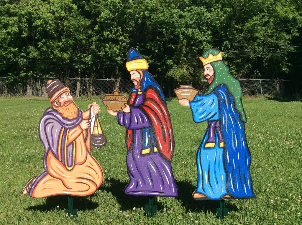 Christmas wisemen set painted yard art design