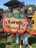 large in all things give thanks pumpkin painted yard art design