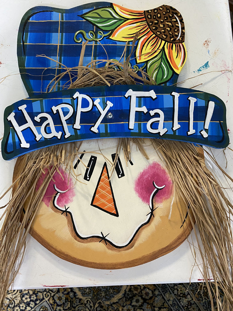 scarecrow with hat painted yard art design