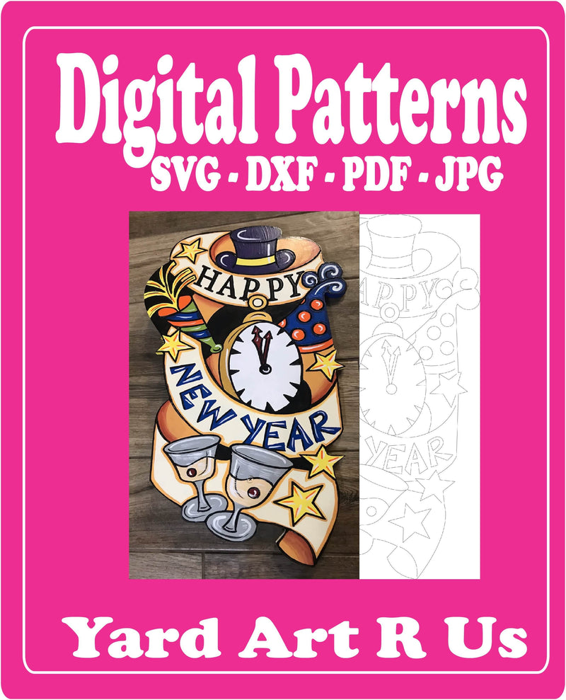 happy new year banner with clock, top hat, and wine glass digital pattern - SVG, DXF, PDF, and JPG file options