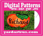 Pumpkin with leaves on right side digital pattern;SVG, DXF, PDF, and JPG file options