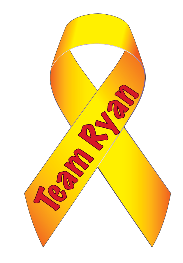 yellow team ryan cancer ribbon painted yard art design