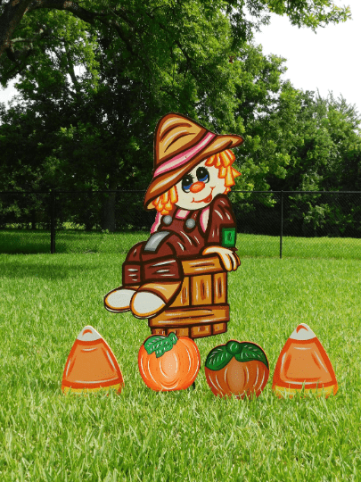 Digital Cut File for Scarecrow on bucket - SVG - PDF - JPG - DXF