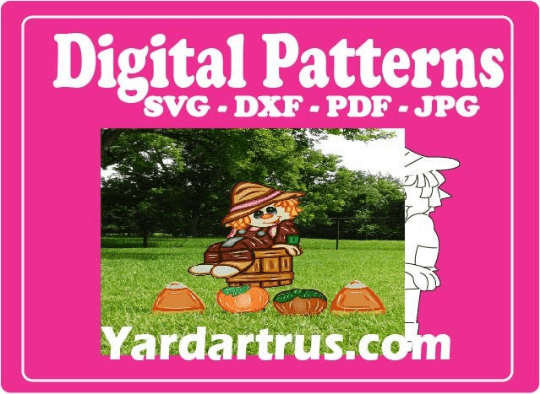 scarecrow sitting on bucket digital pattern - SVG, DXF, PDF, and JPG file options