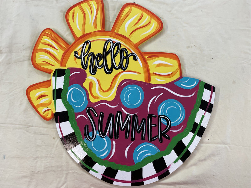 Door Hanger-Hello Summer Watermelon DIY Blank