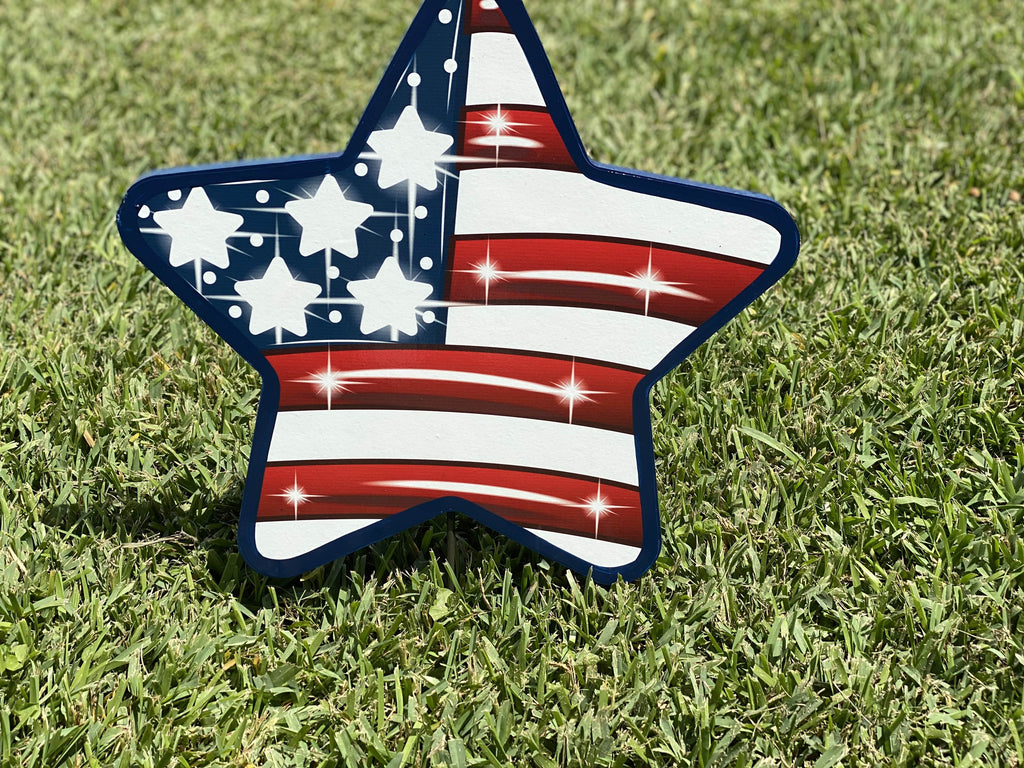 American Flag Star yard art