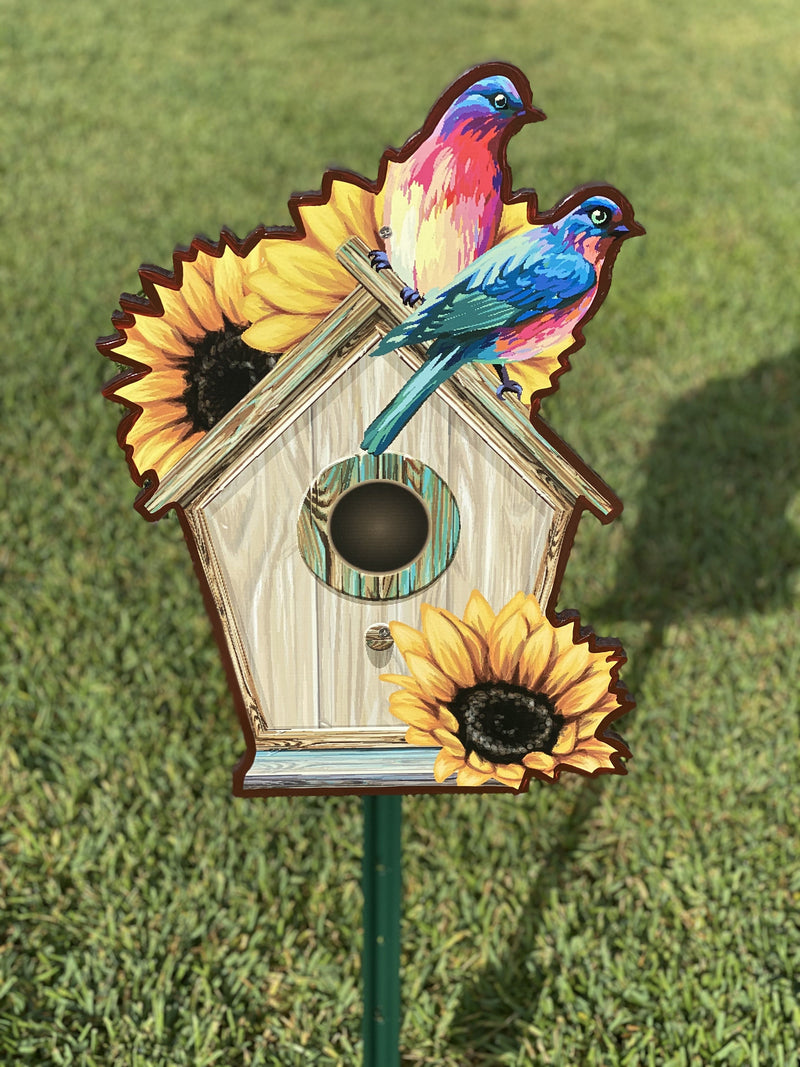bird house with sunflowers yard art