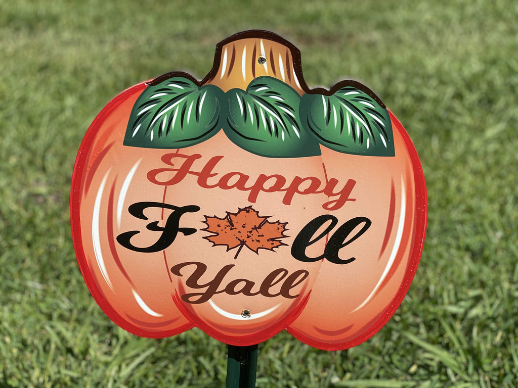 small Happy Fall Y'all pumpkin painted yard art design