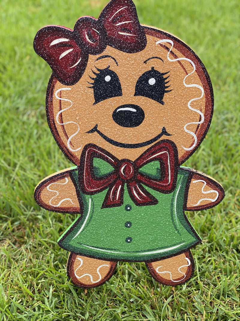 Christmas gingerbread girl painted yard art design