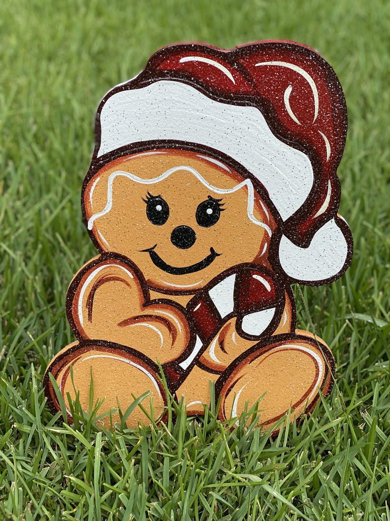 Christmas gingerbread baby with candy cane and hat painted yard art design